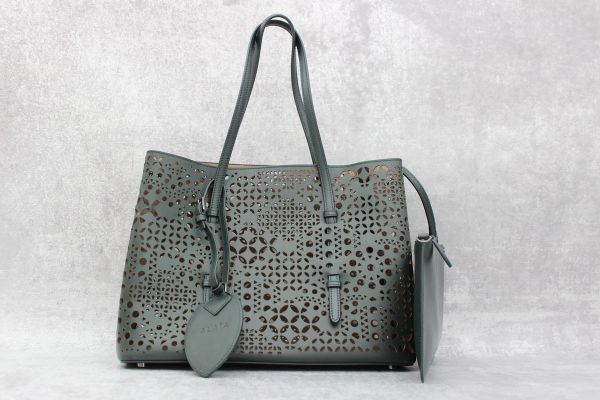 Alaia Green Laser Cut Leather Tote