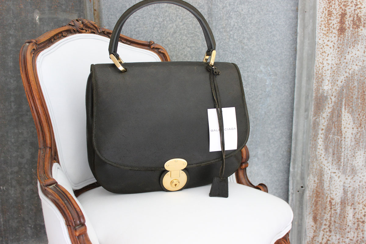 Balenciaga Large Black Distressed Leather Saddle Bag