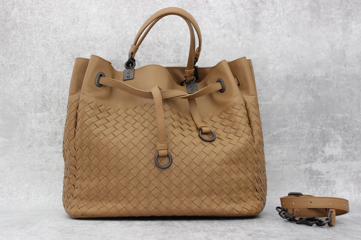 46b51e71c57c Bottega Veneta Bucket Bag Camel Intrecciato Nappa at Jill s Consignment