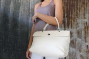 Bottega Veneta Smooth & Intrecciato Cream Top Handle Bag