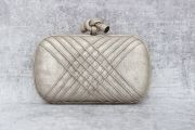 Bottega Veneta Metallic Leather Mineral Liseret Knot Clutch