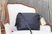 Bottega Veneta Navy Nappa Intrecciato Crossbody Bag