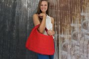 Bottega Veneta PONZA Hobo Red Silk & Leather