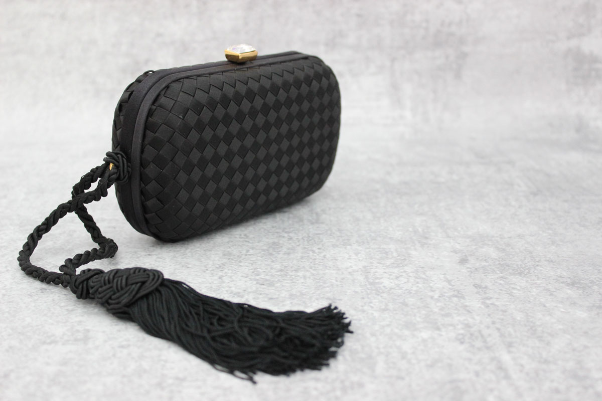 5fb50c36fb7e Bottega Veneta Black Satin Clutch with Tassel at Jill s Consignment