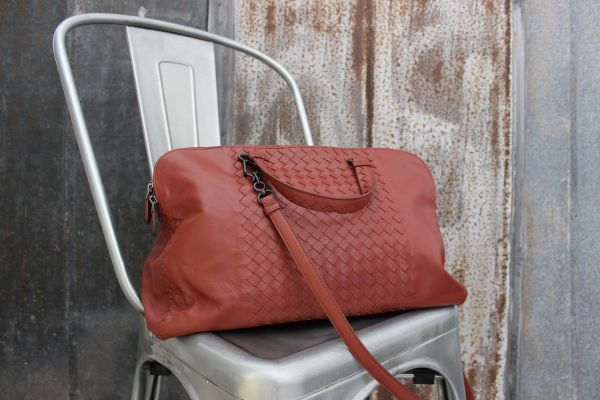 Bottega Veneta Rust Intrecciato Leather Convertible Top Handle Shoulder Bag