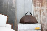 Bottega Veneta Brown Coated Linen & Leather AQUILONE Triangle Hobo