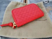 Bottega Veneta Red Nappa Intrecciato Coin Purse
