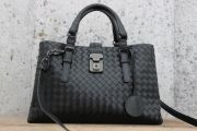Bottega Veneta Nero Intrecciato Light Calf ROMA Bag