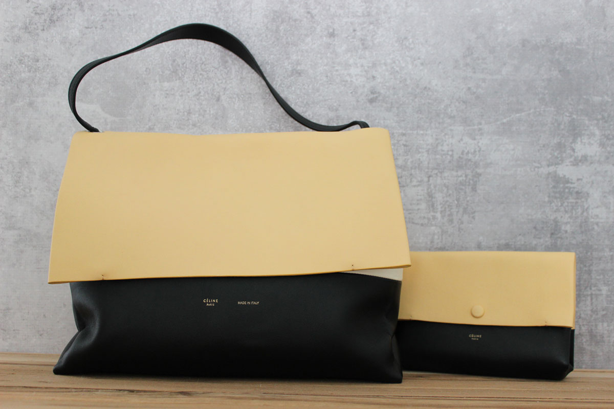 Celine All Soft Leather Shoulder Bag with Pouch