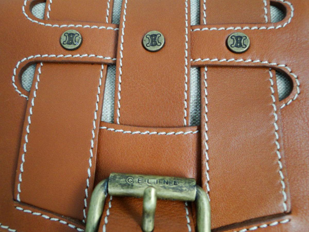 Celine Brown Leather Equestrian Style Shoulder Bag