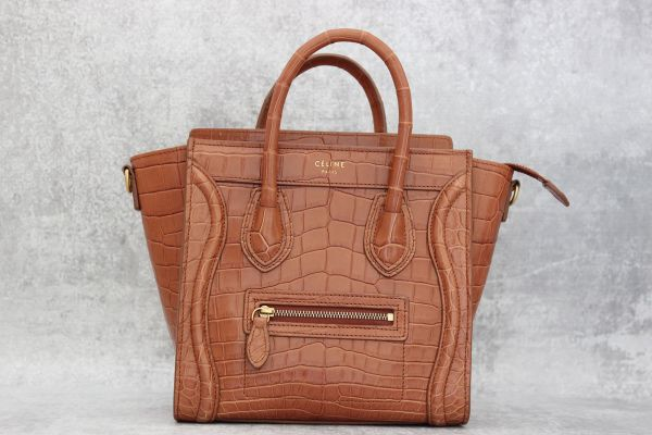 Celine Nano Luggage Crocodile Tote