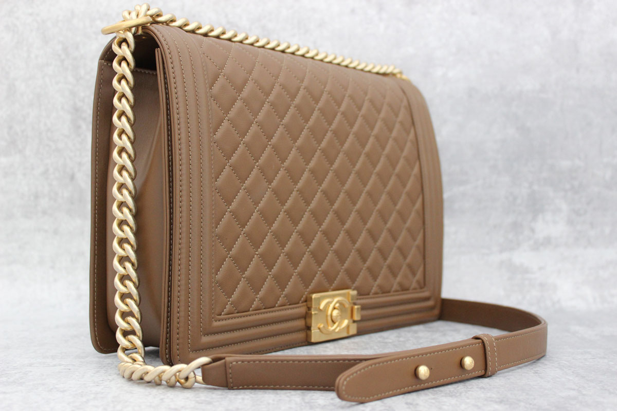 Chanel 2017 Large Quilted Lambskin Boy Bag Brown At Jill S