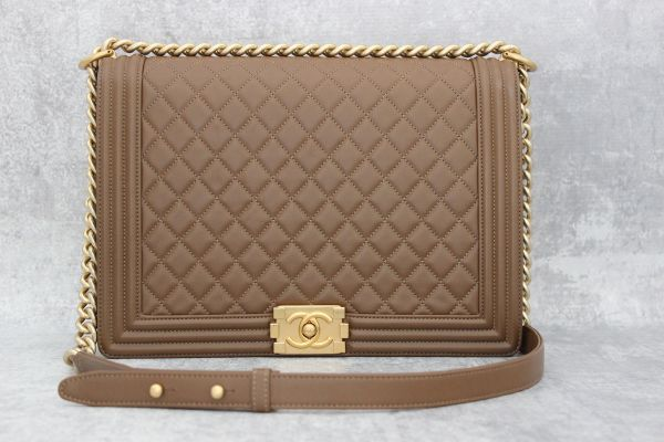 Chanel 2017 Large Quilted Lambskin Boy Bag Brown
