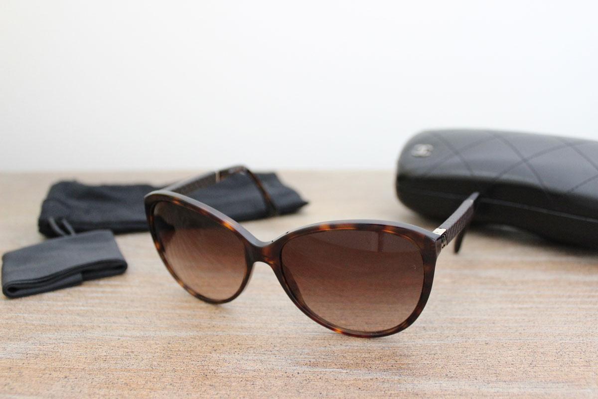 Chanel Glasses Frames Leather : Chanel 5225 Q Tortoise & Leather CC Sunglasses at Jills ...