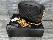Chanel Vintage Black Caviar Small Camera Bag