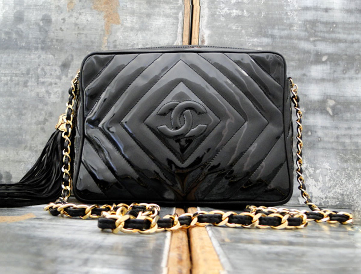 284b6686c2bb Chanel Classic Vintage Black Patent Leather Tassel Bag. Tap to expand