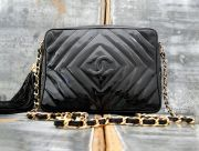 Chanel Classic Vintage Black Patent Leather Tassel Bag