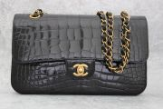 Chanel Alligator Medium Double Flap Bag Black