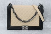 Chanel Beige & Black Large Boy Quilted Flap Bag