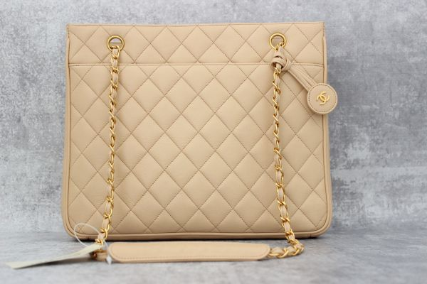 Chanel Beige Quilted Lambskin Tote with CC Charm