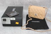 Chanel 255 Beige Caviar Mini Classic Flap Bag