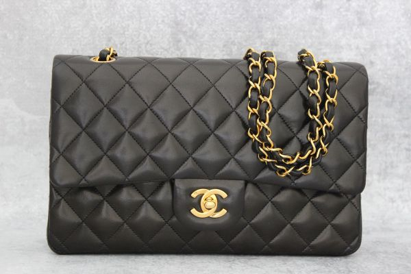 18c3b9ff2098 Chanel Black Classic Quilted Lambskin Medium Double Flap at Jill's  Consignment
