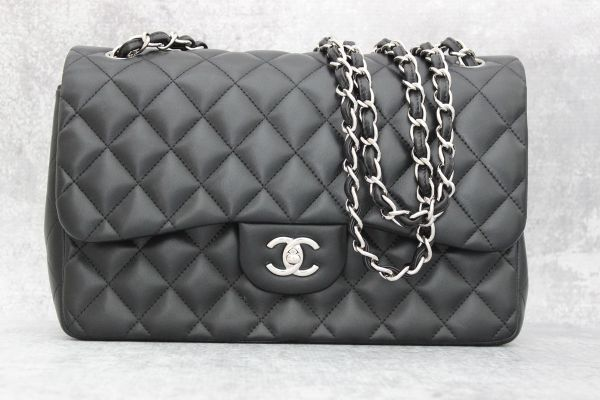 Chanel Black Quilted Lambskin Classic Jumbo Double Flap Bag
