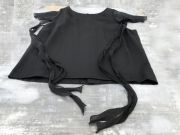 Chanel Black Silk Top Ribbon & Sheer Flutter Details Chanel Buttons 38 4