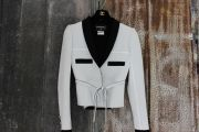 Chanel 2014 Black & White Crepe Belted Jacket 36 4