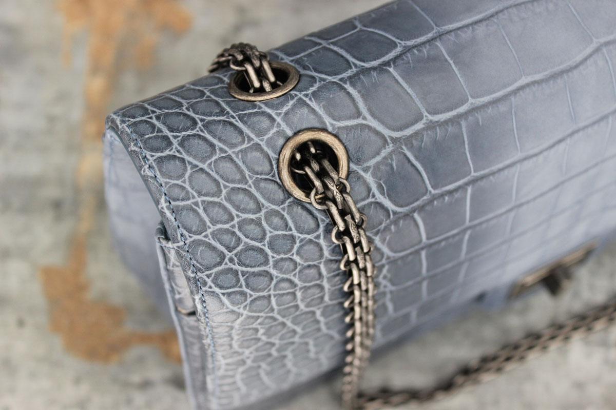 Chanel 13p Blue Crocodile 255 Reissue Jumbo Double Flap Bag