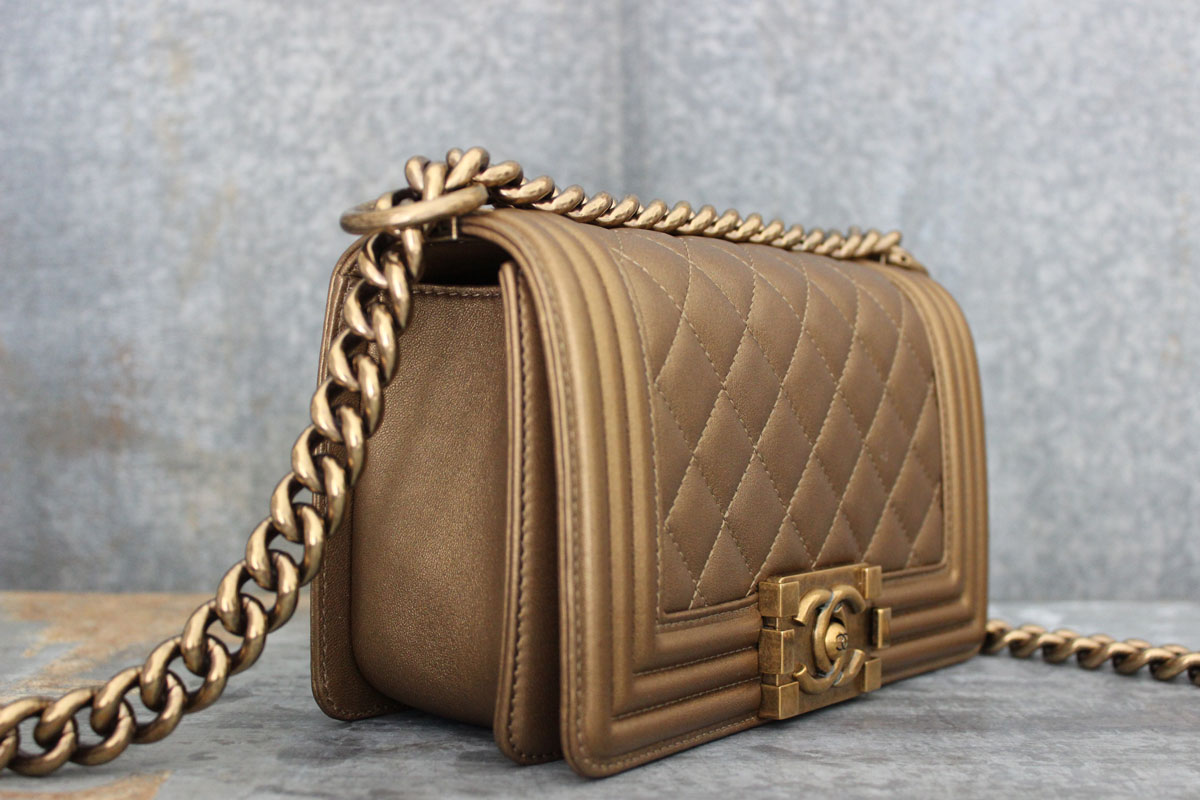 Chanel Bronze Quilted Lambskin Small Crossbody Boy Bag