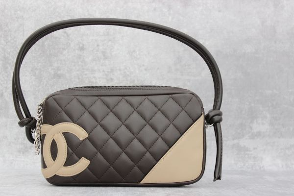 Chanel Brown Quilted Lambskin Cambon Pochette