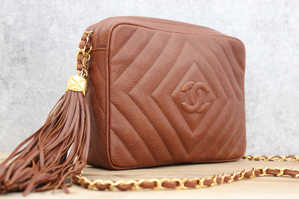 Chanel Brown Caviar Chevron Quilted Classic Camera Bag
