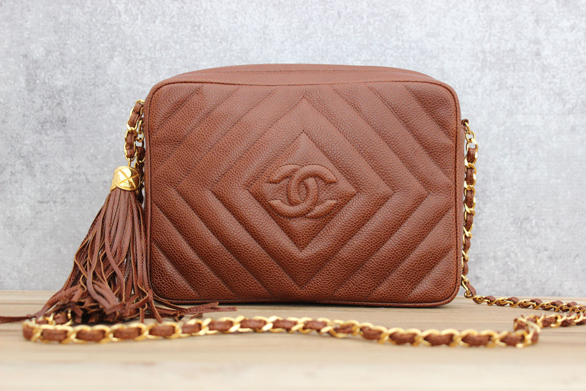 Chanel Brown Caviar Chevron Quilted Classic Camera Bag With Tassel Tap To Expand