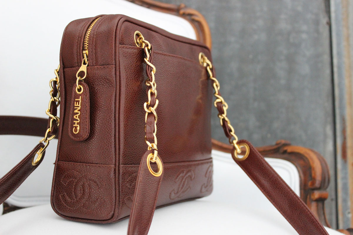 Chanel Brown Leather Shoulder Bag 20