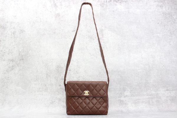 Chanel Brown Quilted Lambskin Crossbody Bag