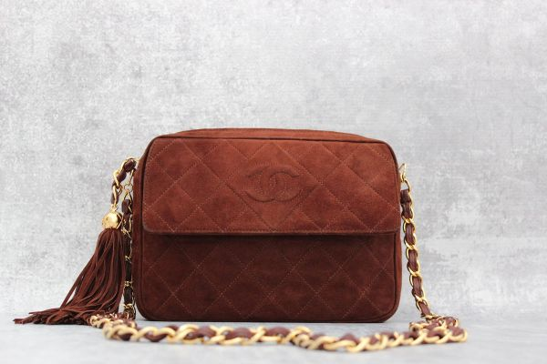 Chanel Brown Suede Camera Bag with Tassel