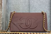 Chanel Brown Caviar Leather Vintage WOC Wallet On Chain