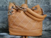 Chanel Tan Lambskin CC Charm Small Bucket Bag