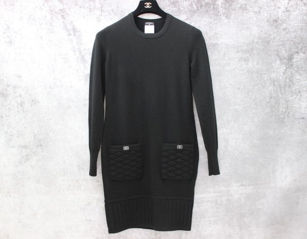 Chanel Black Cashmere Quilted Pocket Dress 36
