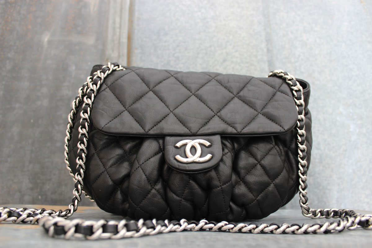 Chanel Black Quilted Washed Lambskin Chain Around