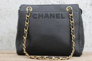 Chanel Black Caviar Leather Double Chain Shoulder Bag