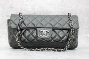 Chanel Black Quilted Distressed East West Flap Bag