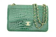 Chanel Exotic Emerald Green Alligator Jumbo Flap