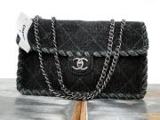 Chanel Grey Felt Large Flap Bag 13B