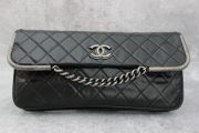 Chanel Black Glazed Calfskin Clutch