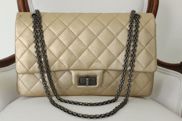 Chanel Gold Quilted Calfskin Large 255 Double Flap Bag