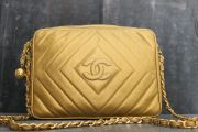 Chanel Gold Chevron Quilted Lambskin Classic Camera Bag