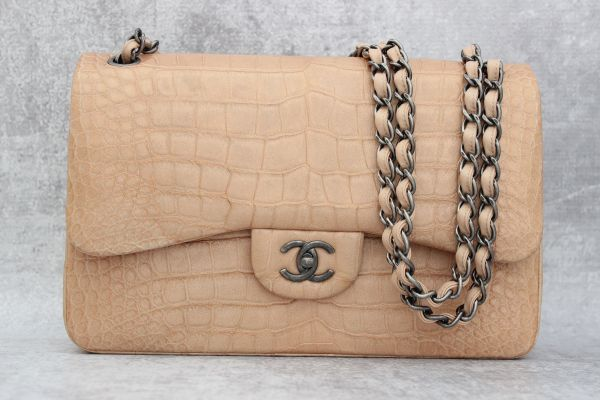 Chanel Alligator Jumbo Flap Bag Beige