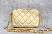 Chanel Gold Mini Quilted Lambskin Vintage Shoulder Bag